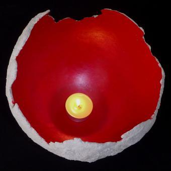 Beton Halbkugel Rot - Teelicht