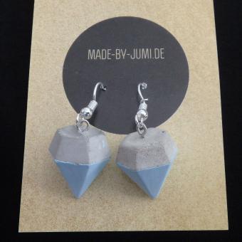 Beton-Ohrhänger in Diamantform, Kreidefarben Blau